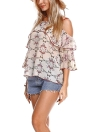 Off-the-Shoulder Chiffon Floral Print Ruffled Sleeve Loose Blouse
