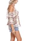 Blusa allentata a maniche lunghe in chiffon con stampa floreale