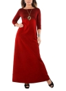 Plus Size Metallic O-Neck Three Quarter Sleeve Solid Slim Long Dress