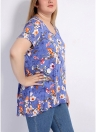 Flower Print Plus Size T-Shirt Short Sleeve Casual Loose Tee