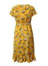 Boho Vintage Floral Rüschen V-Ausschnitt Kleid mit kurzen Ärmeln asymmetrischen Strandkleid
