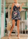 Bohemian Vintage Floral Dress Spaghetti Strap Lace Up Backless Strappy Playsuit