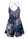Bohemian Vintage Floral Dress Spaghetti Strap Lace Up Backless Strappy Combishort