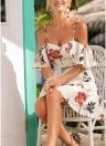 Boho Vintage Floral Print Ruffle Dress Spaghetti Strap Backless Beach Dress