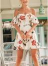 Boho Vintage Floral Print Ruffle Dress Vestido sin tirantes de la correa de espagueti Beach Dress