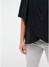 Плюс Размер Короткие рукава с короткими рукавами Асимметричная футболка с капюшоном