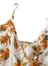 Bohemian Floral Print Sleeveless Dress Casual Backless Ruffles Belt Irregular Hem Dress