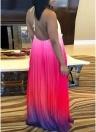 Бохо шифон без спинки плиссированное платье без рукавов Halter Maxi платье