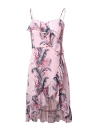 Bohemian Floral Print Vestido sem mangas Backless Ruffles Irregular Hem Dress