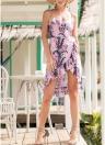 Bohemian Floral Print Sleeveless Dress Backless Ruffles Irregular Hem Dress