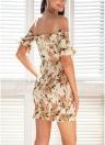 Short Shirred Off the Shoulder Ruffles Bodycon Boho Beach Dress