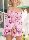 Floral Off the Shoulder Short Jumpsuit Flared Sleeve Elastic Waist Boho Vacation Playsuit