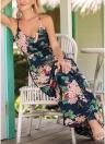 Boho Floral Print Spaghetti Strap Dress Casual Elastic Waist Maxi Dress
