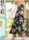 Boho Floral Imprimer Spaghetti Strap Dress Casual taille élastique Maxi Dress