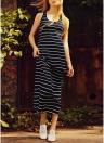 Listrado O Pescoço Sem Mangas Maxi Dress