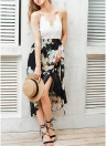 Crochet Lace Floral Chiffon Spaghetti Strap Cross Over Sleeveless Backless One-Piece Dress