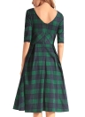 Vintage Plaid Check V Back Knee-Length Casual Party Dress