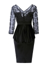 Lace Patches Ruffles Three Quarter Sleeve Midi Bodycon Dress