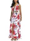 Floral Plunge Gold ceinture fendue avant sans manches Maxi Dress