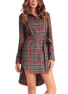 Plaid Long Sleeve Buttons Casual Check Tunic Shirt Dress