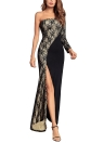 One Shoulder Lace Long Sleeve Split Slim Bodycon Maxi Dress