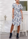 Boho Floral Print V Neck Short Sleeve Dress Irregular Hem Self-tie Waist Beach Dress