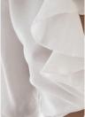 T-shirt a girocollo con scollo profondo a mezza manica con bordo anteriore