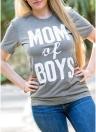 Camiseta suelta casual de manga corta con estampado de letras de O-Cuello