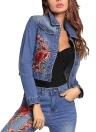 Flor bordada Turn-Down Collar manga longa Denim Jacket