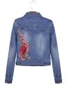 Embroidered Flower Turn-Down Collar Long Sleeve Denim Jacket