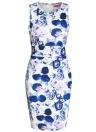 Mini vestido ajustado sin mangas con cuello en V y abertura floral