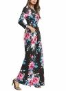 Floral Long Sleeve Prom Sundress Elastic Waist Long Dress