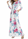 Floral Long Sleeve Prom Sundress Elastic Waist Long Dress