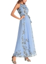 Boho Floral Chiffon Halter mangas Maxi Dress