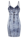 Denim Backless Spaghetti Strap Sem Mangas Sólidos Slim Bodycon Mini Vestido