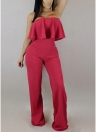 Off The Shoulder Jumpsuit Sans manches à volants large jambe Zip Slim Romper