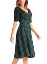 Plaid Checked V-Neck Short Sleeve Slim Vintage A-Line Dress