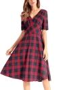 Платье проверено V-образным вырезом с коротким рукавом Slim Vintage A-Line платье
