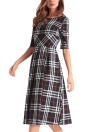 Plaid Checked O-Neck Half Sleeve Slim Midi A-Line Dress