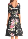 Vintage Floral Print Pleated V Back High Waist Half Sleeve Retro Dress