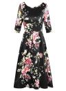 Cópia floral do vintage plissada V para trás vestido retro da meia luva da cintura alta