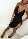 Cut out Deep V Neck Backless Party Sequined Bodycon Dress