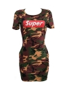 Camouflage Letter Print O-neck Casual T-Shirt Mini Dress