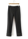 Tassel Pearls High Waist Side Zipper Casual Pantalones sólidos