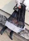 Jupe mi-longue plissée en velours avec élastique à la taille