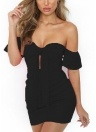 Off the Shoulder Bow Nó Ruched Manga Curta Bandage Bodycon Mini Vestido