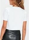 Camiseta casual estampada con cuello en O de manga corta