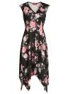 Ärmelloses Asymmetrisches Blumendruck-V-Ausschnitt-Midi-Kleid mit hoher Taille