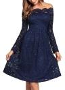 Vintage Spitze aus der Schulter Langarm eine Linie Plissee Kleid
