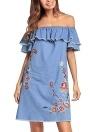 Женское платье из джинсовой вышивки Ruffle Jeans Dress Элегантное мини-платье